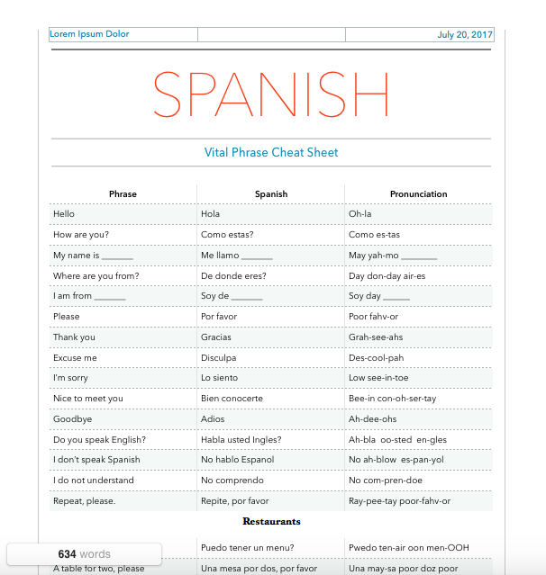 spanish cheat sheet screenshot