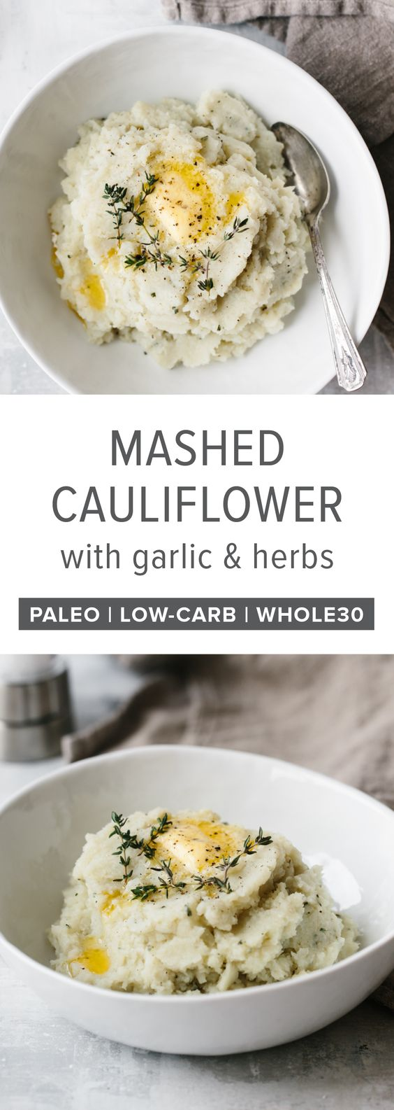 Mashed Cauliflower with Garlic and Herbs - Healthy Thanksgiving Dinner Recipes that are Insanely Delicious