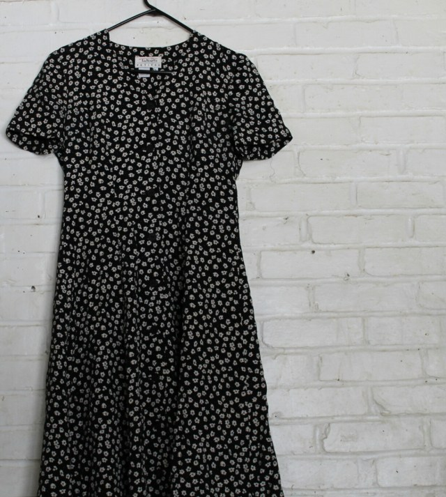 Black Button Down Floral Dress - The Girl Who Does Everything