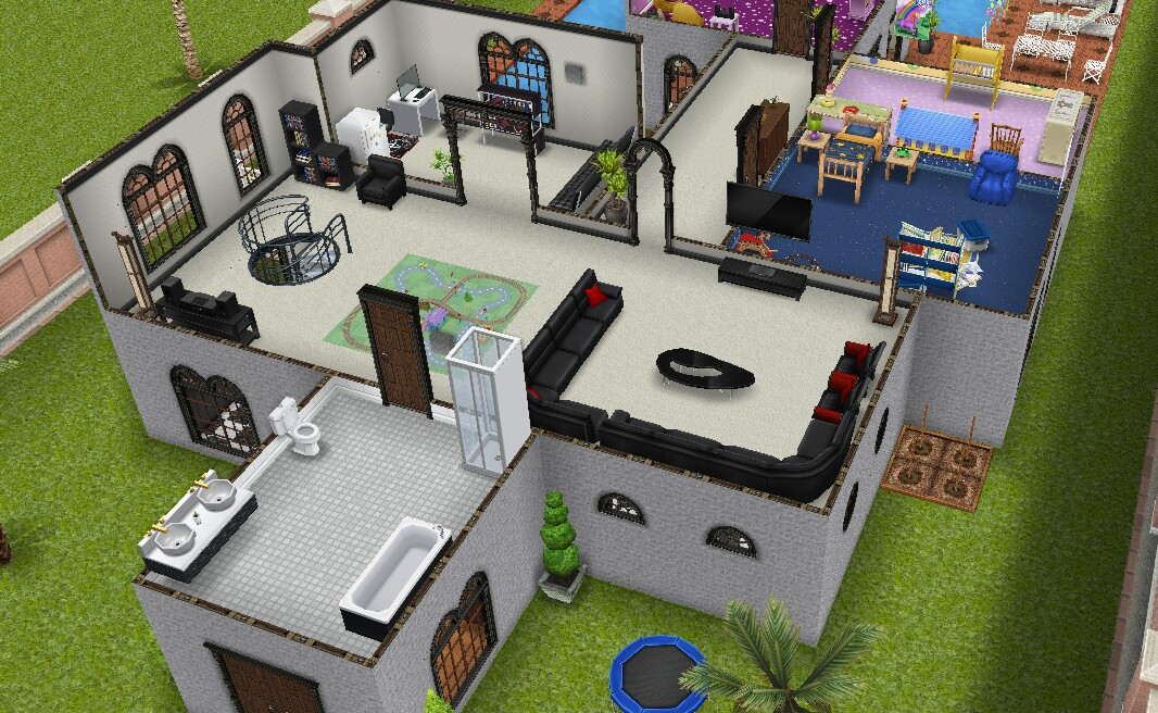 sims freeplay 2 story house ideas