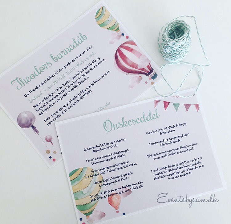 invitation til barnedåb luftballon