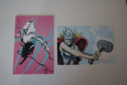SpiderGwen and Thor Art Prints