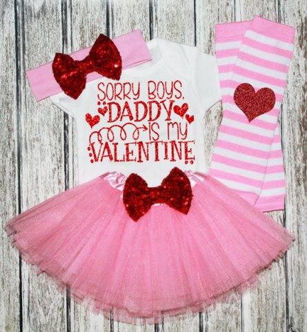 Baby Girls Boutique Valentines Day Hair Bows Outfits