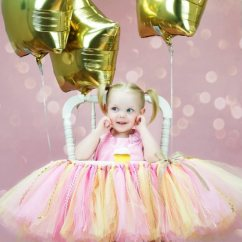 Baby Girl Chair Recliner Parts Girls 1st Birthday Pink Gold High Tutu Banner Reviews