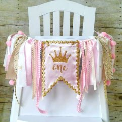 Baby Girl Chair Pink Slipper Girls First Birthday Crown Gold And High Banner Party