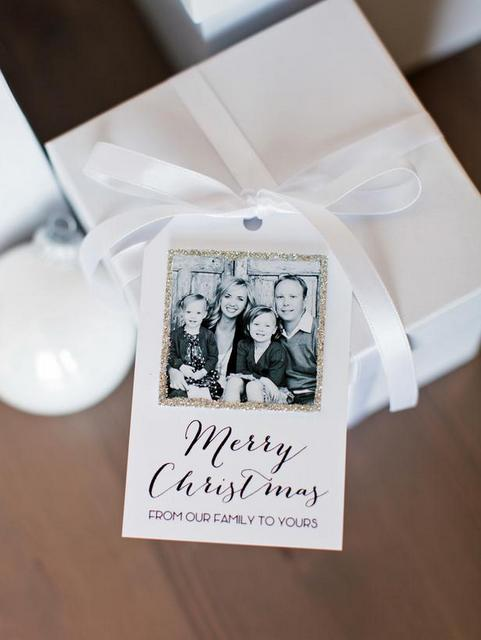 Glittered Photo Holiday Tags