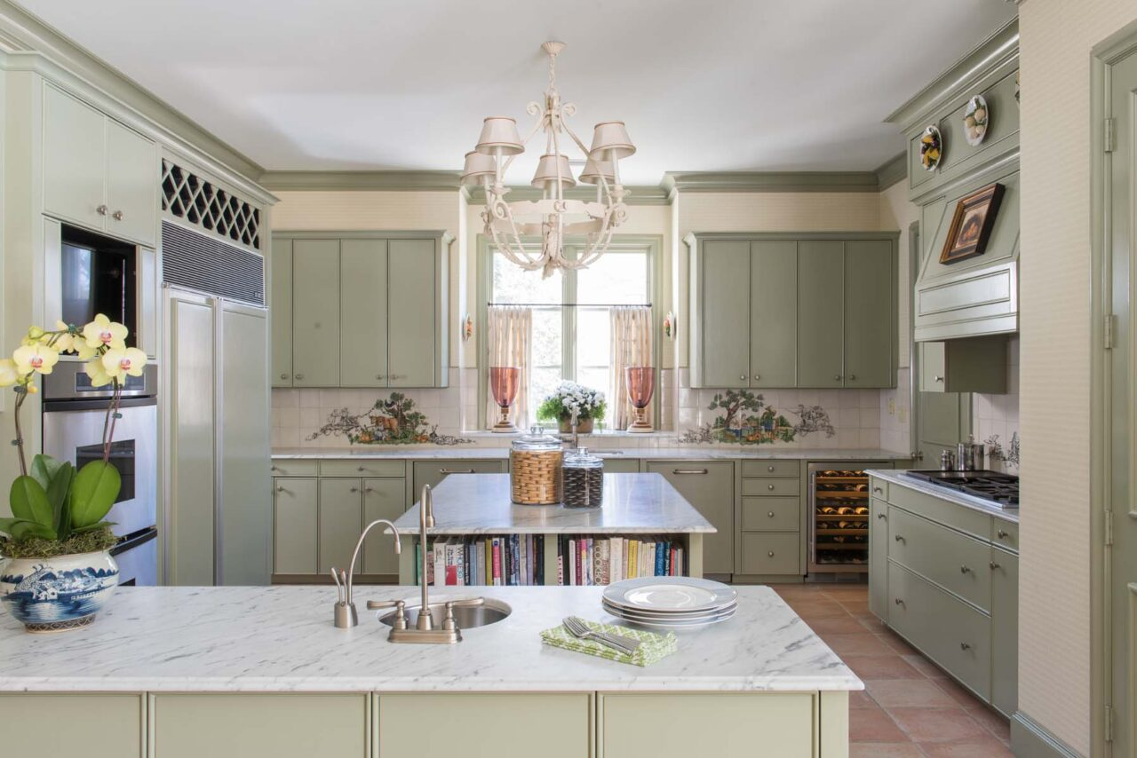 Cathy Kincaid Interior Design Sage Green Kitchen Cabinets Painted Danby Marble Imperial The Glam Pad