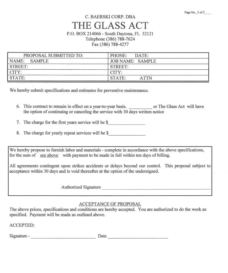 Preventive Maintenance Proposal Sample - The Glass Act
