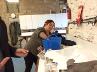 Helga mixes to infil our leg mould.