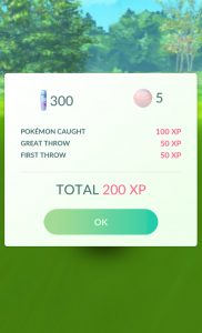 Note Bonus Candy for catching an evolved Pokémon - Exeggcutor - and bonus XP for First Throw