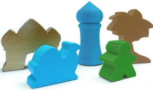 Five Tribes wooden game pieces