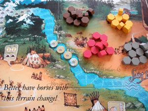 Lewis & Clark terrain change tokens on game board