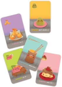 Sushi Go! cards: Tempura, Wasabi, Sashimi, Chopsticks, Pudding