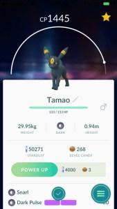 Name an Eevee Tamao to evolve an Umbreon