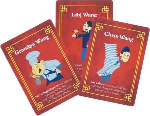 Wok Star sample Character Cards: Grandpa Wang, Lily Wang and Chris Wang