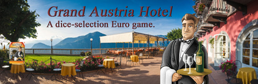 Grand Austria Hotel - a dice-selection Euro game. Game review by Tina McDuffie, The Glass Meeple.
