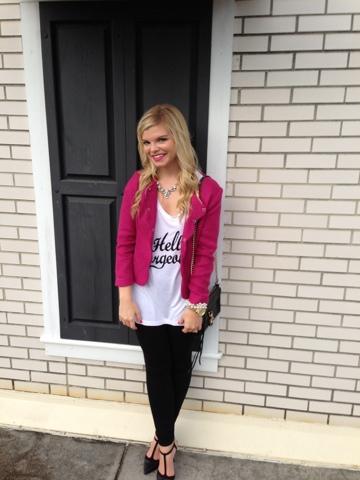 The GLitter Gospel Blog. Graphic tee, scallop tweed blazer, pixie pants, t-strap heels, rebecca minkoff mini mac
