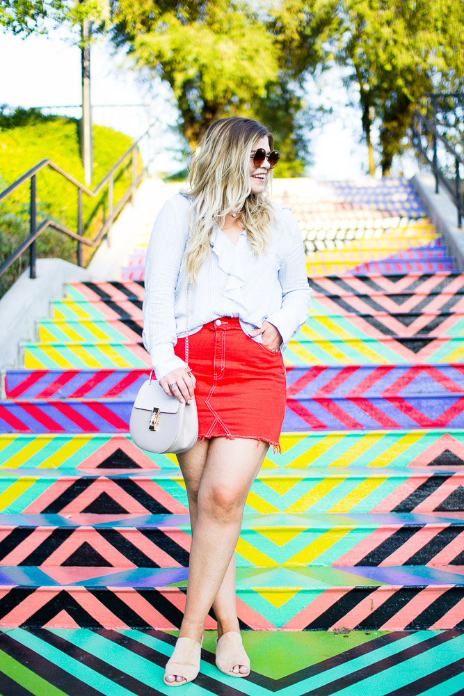 Orange Denim Skirt | Fall Color