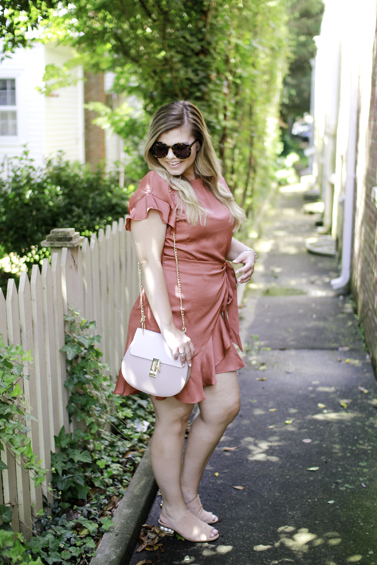 Feminine Fall Pieces, Wrap Dress, ASTR the Label, Rust Dress, Easy Outfits, Fall Style, Chloe Drew Dupe Bag, Karen Walker Super Duper, Style Blogger, Annapolis MD, Fall Fashion, Easy Fall Outfits -