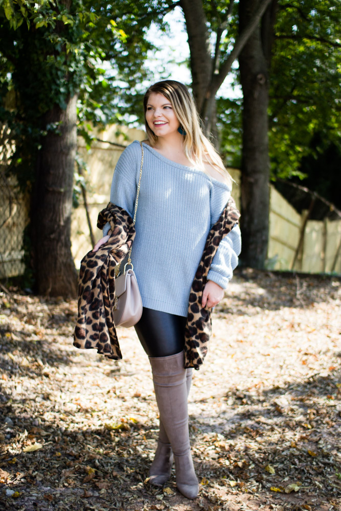 Blue off shoulder sweater, leopard scarf, Over the Knee Boots, Chloe Drew Dupe, Tennessee Blogger, The Glitter Gospel, Sugarfix by Baublebar - Staying in Your Lane + The Best Blue Off The Shoulder Sweater by Tennessee fashion blogger The Glitter Gospel