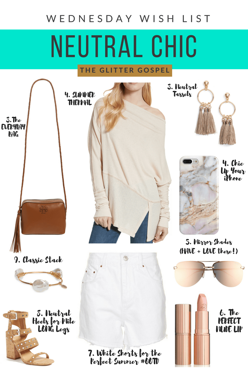 The Glitter Gospel Blog shares Neutral Summer OOTD Inspo, Summer chic, Neutral Outfit, Nordstrom, Studded Sandals, Tory Burch Crossbody, KIM KW Charlotte Tilbury, Tassel Earrings, Quay Australia Mirror Sunglasses, Marbled Phone Case, White Denim Shorts, Bourbon and Bowties, Free People Thermal