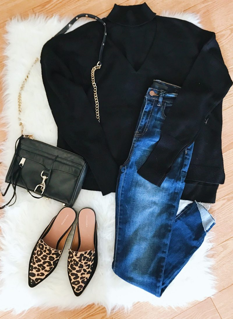 Nordstrom Anniversary Sale, Lush Raw Hem Tee in White, Halogen Cropped Flare Jeans, Halogen Leopard Mules, Fall Outfits