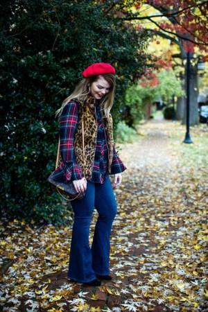 A Trip to Biltmore Village   The Glitter Gospel Blog. Fall outfit, red beret, tartan plaid, paige jeans, flare jeans, leopard vest, louis vuitton favorite MM, Casual Outfit, Stila Fiery