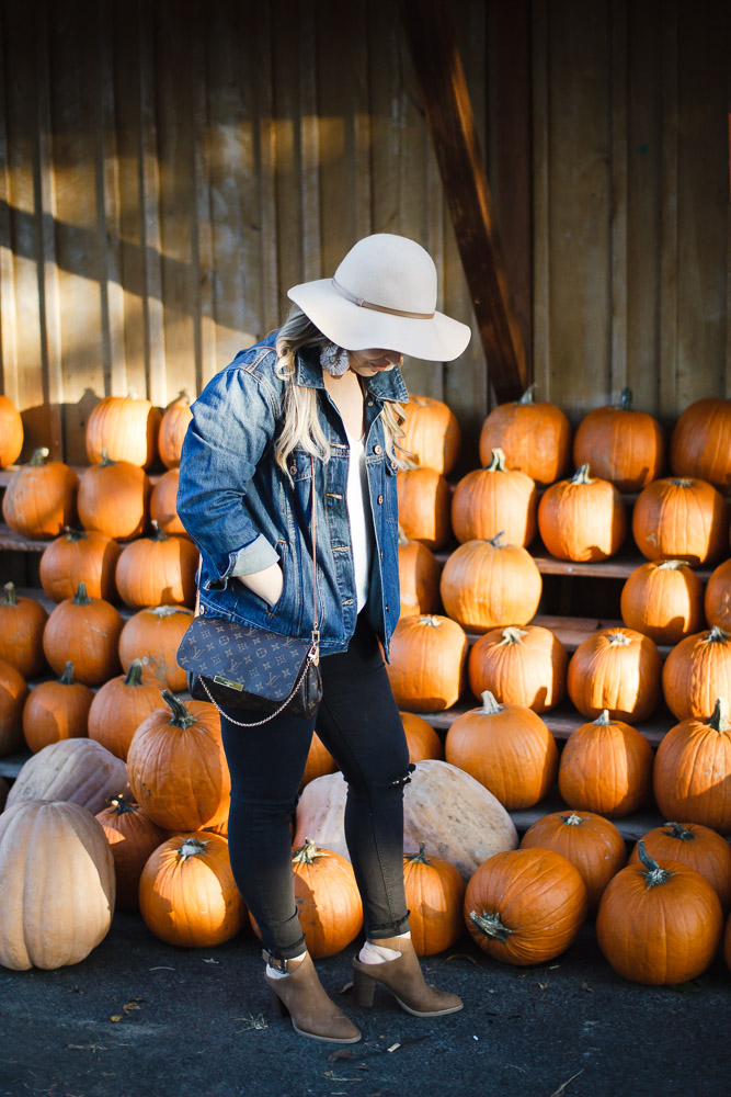 The Glitter Gospel Blog Fall Outfit For the Pumpkin Patch. Oversized Denim Jacket, Target Booties, Louis Vuitton Favorite MM, Wool Floppy Hat