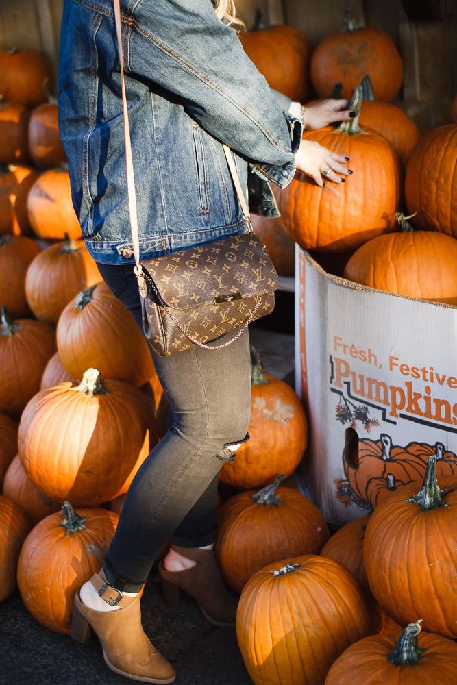 The Glitter Gospel Blog Fall Outfit For the Pumpkin Patch. Oversized Denim Jacket, Target Booties, Louis Vuitton Favorite MM, Wool Floppy Hat