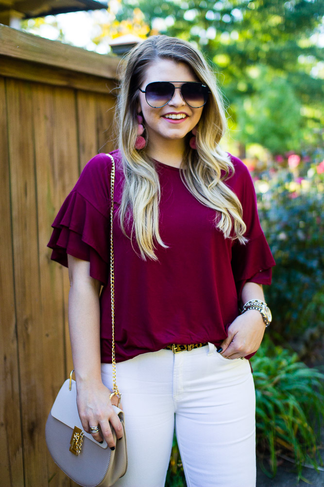 An Easy Fall Look with the Rach Parcell Everyday Collection from The Glitter Gospel Blog. Rach Parcell, Pink Suede Heels, White Jeans for Fall, Chloe Drew Dupe, Pom Pom Earrings - A Little Less Yes + Rach Parcell Everyday Collection by Tennessee fashion blogger The Glitter Gospel