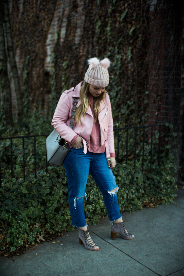 Winter outfit and 2018 goal setting with The Glitter Gospel. 2018 goals, new years resolutions, mom jeans, pink moto jacket, the glitter gospel, jeffrey campbell, rebecca minkoff, asos beanie,