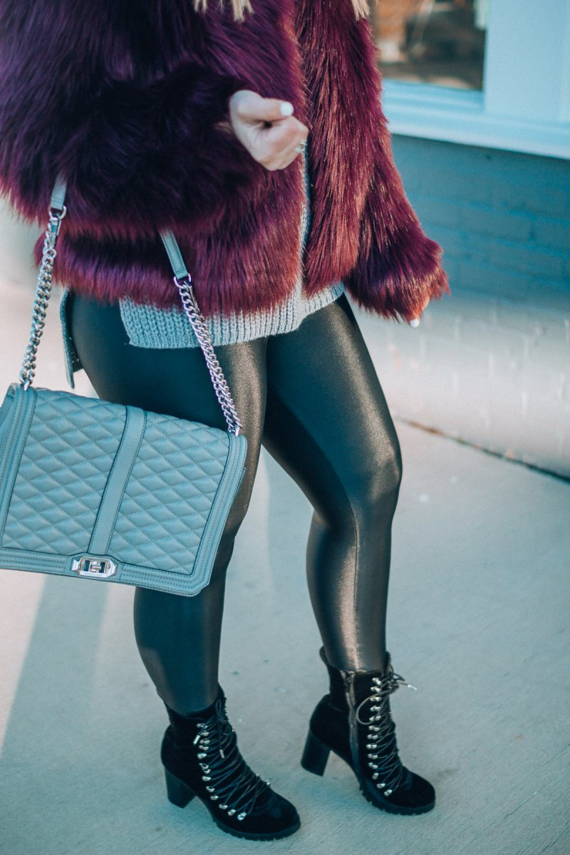 Faux Fur Jacket + Liquid Leggings, The Glitter Gospel, Tennessee Blogger, Winter Outfit, Koral Leggings, Jeffrey Campbell, Rebecca Minkoff Jumbo Love, Quay Sunglasses.