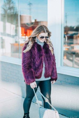 Faux Fur Jacket + Liquid Leggings, The Glitter Gospel, Tennessee Blogger, Winter Outfit, Koral Leggings, Jeffrey Campbell, Rebecca Minkoff Jumbo Love, Quay Sunglasses.