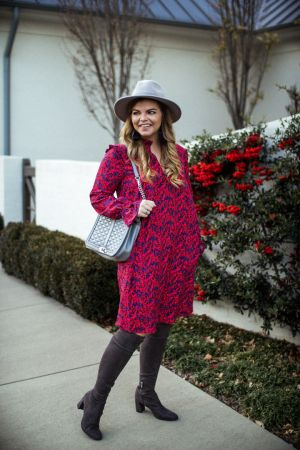 Affordable Office Style. H&M floral dress, under $50 outfit, over the knee boots, marc fisher, gray boots, the glitter gospel, nashville, fedora hat.