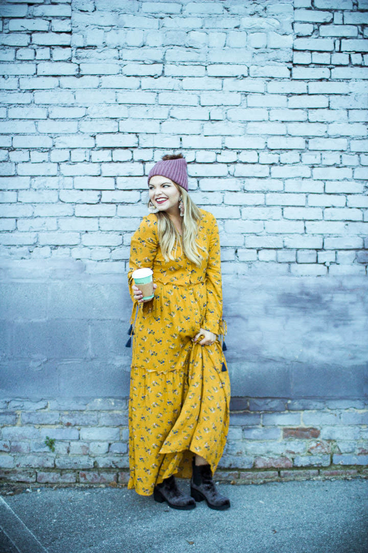 Yellow Maxi Dress. The Glitter Gospel, winter outfit, maxi dress, indigo rd booties, free people, knoxville tn, outfit.