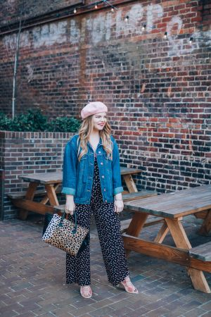 The Glitter Gospel sharing a spring transition outfit. Free people jumpsuit, jeffrey campbell kors booties, asheville nc, pink beret, oversized denim jacket.