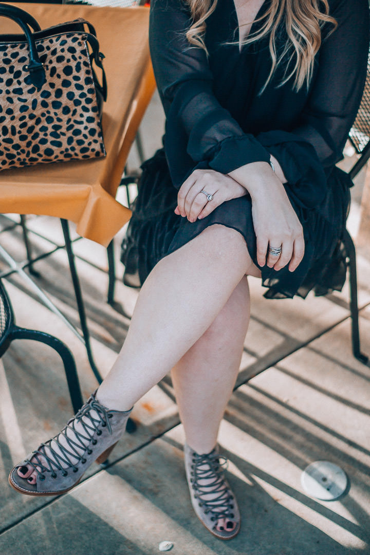 The Glitter Gospel little black dress outfit. Rebecca Minkoff Dylan Dress, Asheville NC, Clare Vivier Leopard Sandrine, Asheville NC, Little Black Dress, date night style