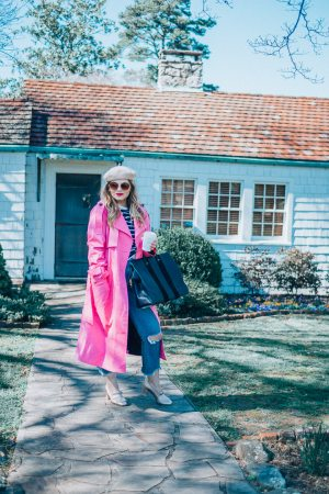 Parisian Spring Look, Spring Outfits, The Glitter Gospel, Tennessee Blogger, M Gemi, Pink Trench Coat, Clare V Tote, Tan Beret, Knoxville TN, Affordable Outfits, Mac RUBY Woo