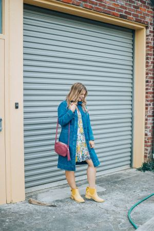 The Glitter Gospel, Yellow Bernardo Rain boots, Spring Ready Outfits, Pink and Yellow Floral, Bernardo Rain Boots, Yellow Rain Boots, Gucci Soho Disco, Blonde Shadow Root, Tennessee Fashion Blogger, Knoxville TN, Spring Style
