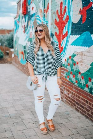 Go-To Summer outfitsYellow Sundress, Cognac Wedges, Oversized Sunglasses, Boho Style, Gingham top, White Jeans, Platform Espadrilles,, The Glitter Gospel. Tennessee Blogger