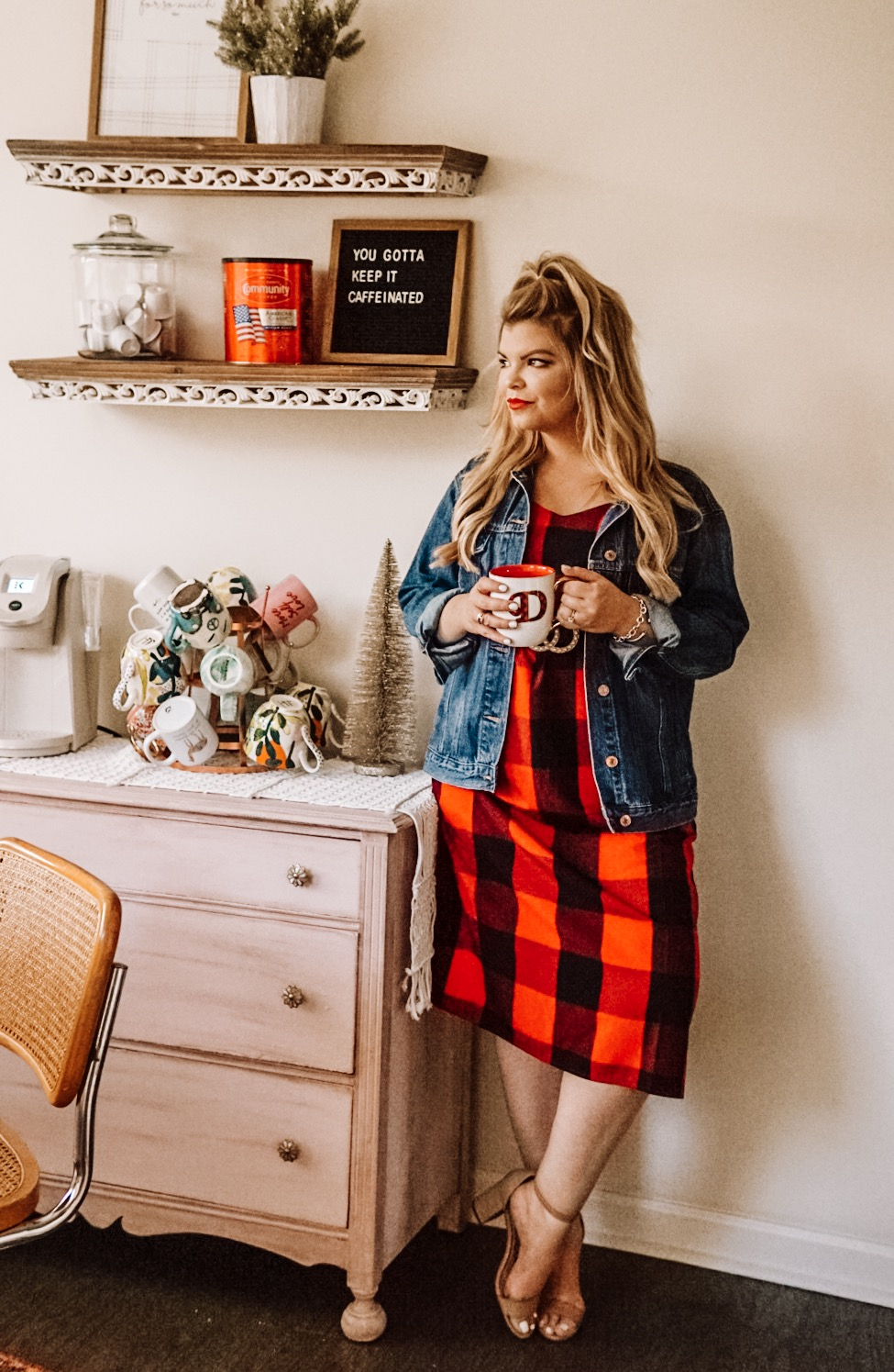 Lacey Anne Douthat of the Glitter Gospel Blog shares 5 Ways to Perk Up Your Day with Community Coffee. Coffee, Coffee Bar, Boho Coffee Bar, Buffalo Plaid Dress, Holiday Outfit, Morning Routine, Mug Tree, Letterboard, WalMart, Breakfast Nook, Beigh Blonde Hair, Half up Hairstyle, White Keurig, Cute Coffee Mugs