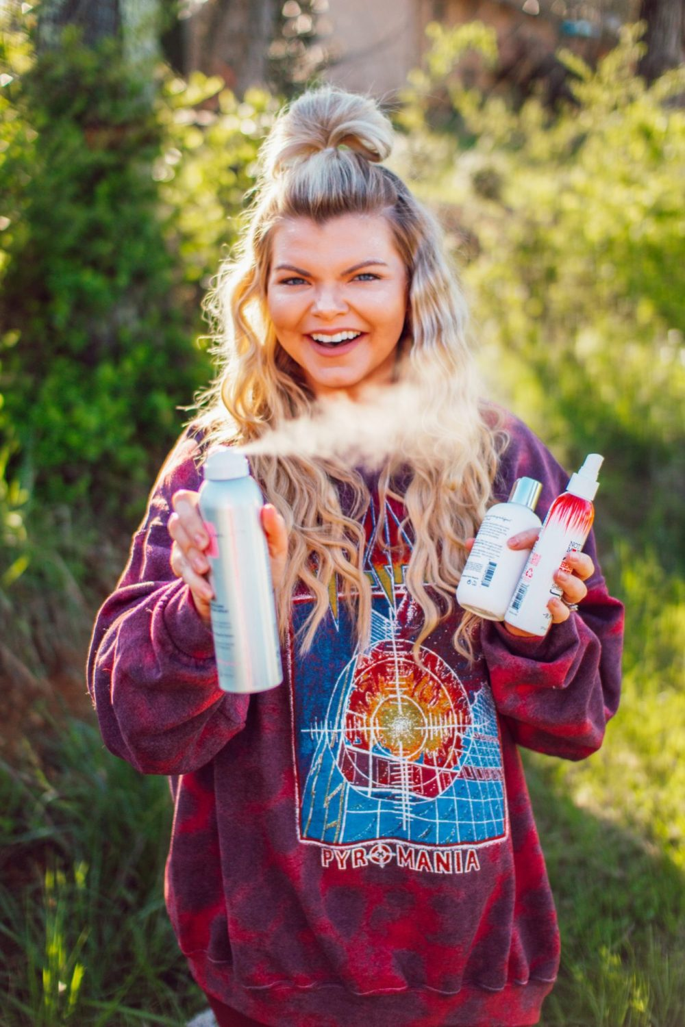 Lacey Douthat of The Glitter Gospel shares tips from her stylist to keep your hair fresh during quarantine. Hair Care, beige Blonde, Half up half down hairstyles, def leopard sweatshirt, knoxville hair salon, tennessee stylist, hairstyle ideas, purple shampoo