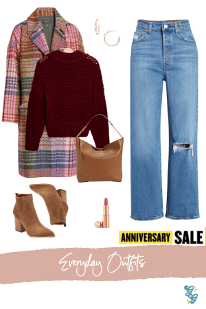 Everyday Fall Outfits from the NSALE | NSALE 2020 | The Glitter Gospel, Levis RibCage Jeans, Tory Burch Carson Hobo Shoulder Bag, Kendra Scott Link Hoop Earrings, Mark Fisher LTD Osha Suede Heeled Booties, Charlotte Tilburry Pillow Talk Lipstick, Free People My Only Sunshine Sweater, Halogen Plaid Tweed Coat