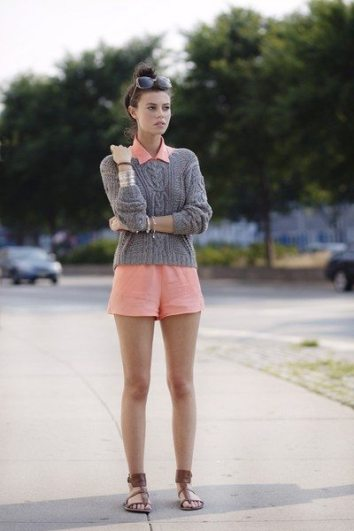 Simple Style Tips Summer to Fall Transition Layering Gray Sweater over Pink Romper