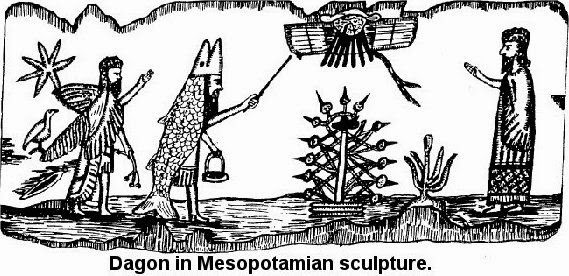 dagon mesopotamian sculpture - Anunnaki - tree of life - DNA manipulation - Mitre pope hat