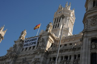 City Hall - Refugees Welcome sign