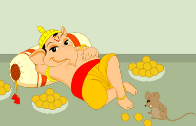Sri Ganesha feasting on Ladoo's
