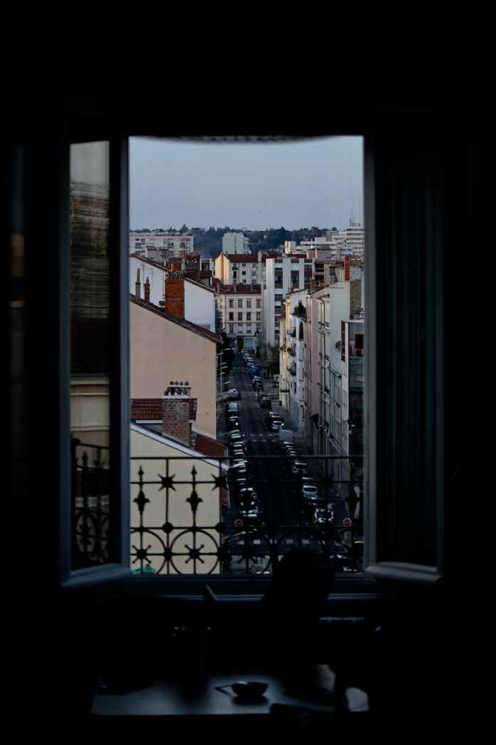 dark room with opened window