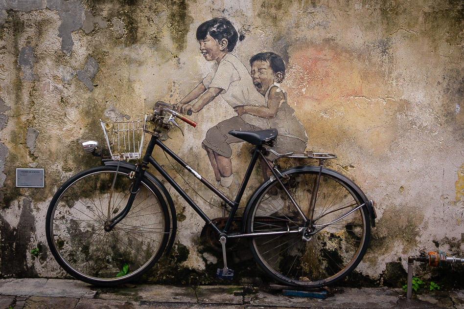 George Town Malaysia Penang Street Art Bicycle Daily Life