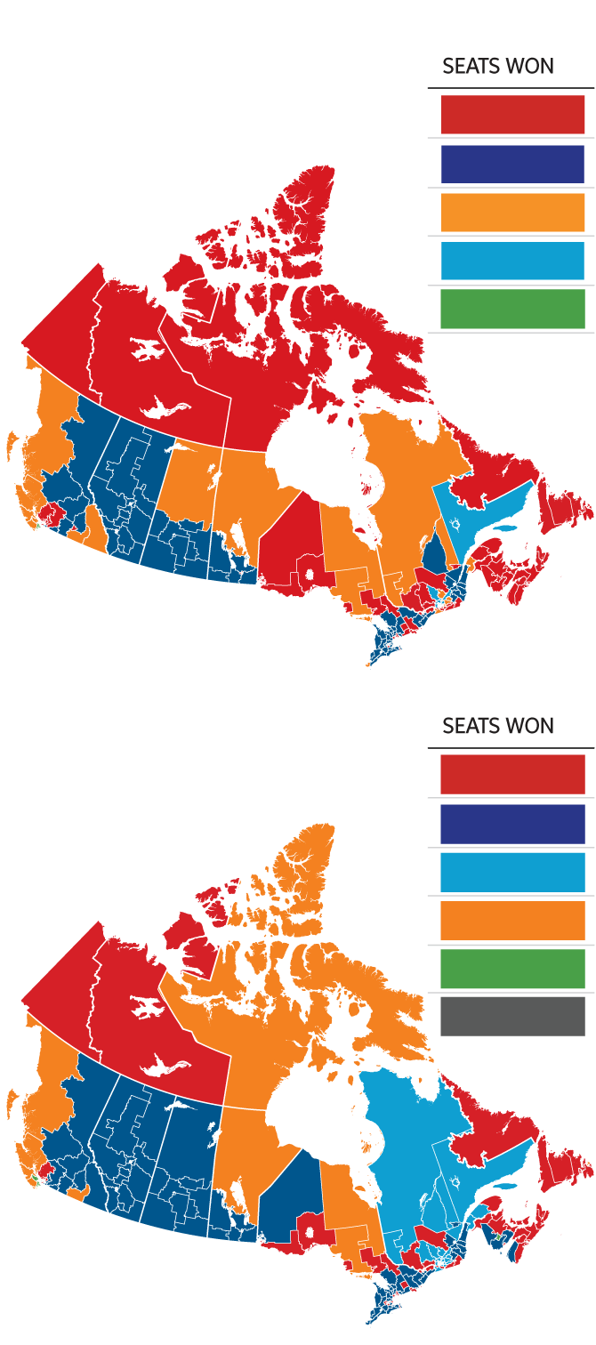 Canadian Election Map : canadian, election, Federal, Election, 2019:, Trudeau's, Liberals, Minority, Government., Guide, Results, Globe